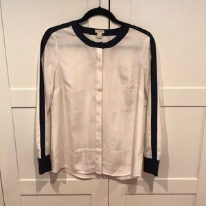 J. Crew white and navy blue button blouse